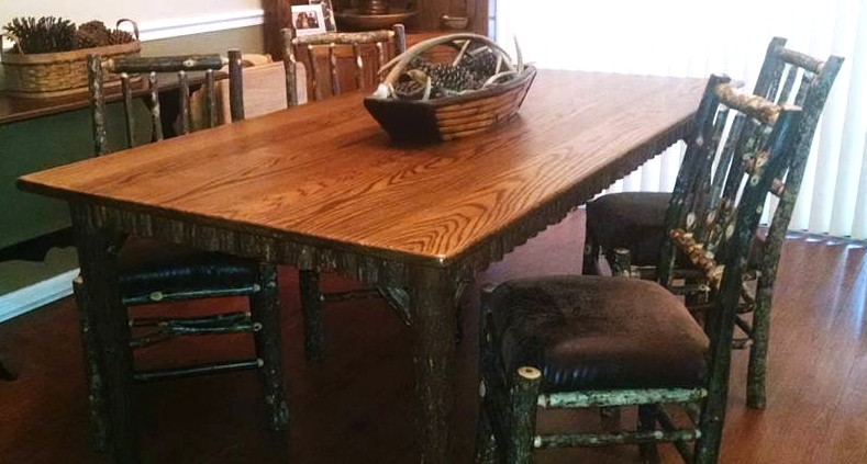 Same essential design as the Lake Placid Dining Table shown above except  this table top is 3 4 inches thick as opposed to 1 1 2 inches on the Lake  Placid. Rustic Tables From ADIRONDACK RUSTIC DESIGNS