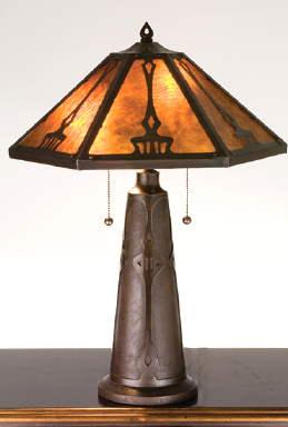 Arts Crafts Table Lamp Bronze Finish 29 High Shade 9 5 H X21 Round Max Watt 40 X 3