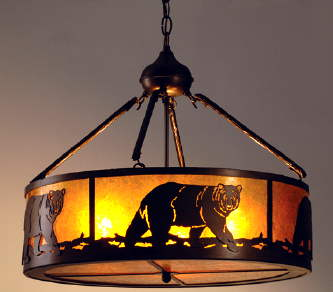 Mica lamps from adirondack rustic designs rustic lodge black bear chandelier aloadofball Choice Image